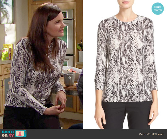 Equipment Ondine Snake Print Sweater worn by Heather Tom on The Bold & the Beautiful