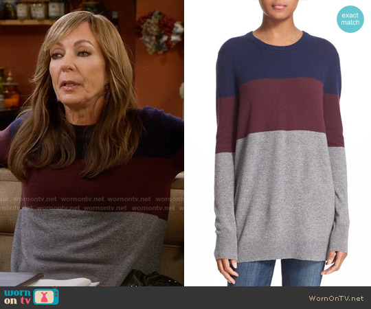 Equipment Rei Colorblock Cashmere Sweater worn by Allison Janney on Mom
