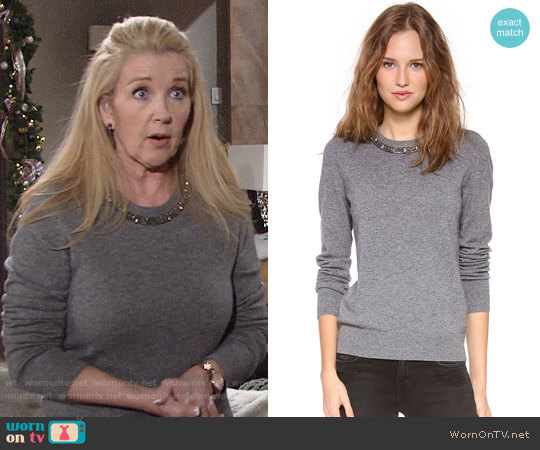 Equipment Shane Embellished Neck Sweater worn by Melody Thomas-Scott on The Young & the Restless