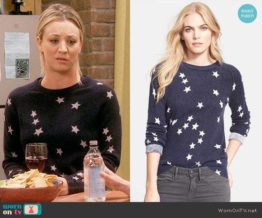 Equipment Sloan Star Print Sweater worn by Kaley Cuoco on The Big Bang Theory