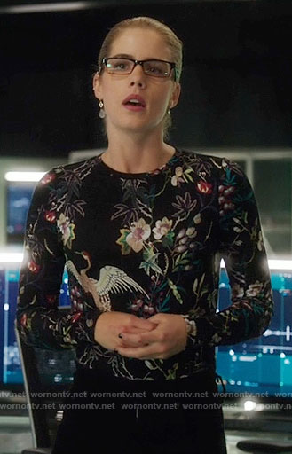 Felicity's black floral and bird print top on Arrow