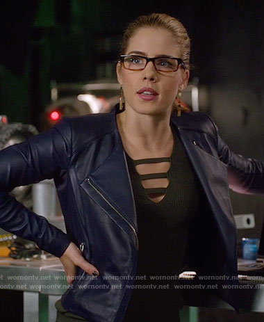 Felicity's black laddered sweater and blue leather jacket on Arrow