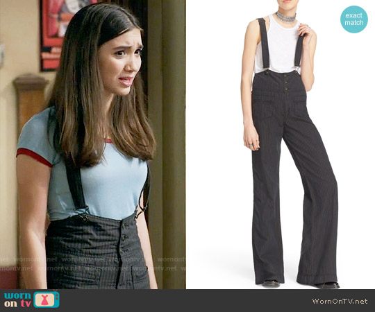 Free People Pinstripe Flare Overalls worn by Riley Matthews (Rowan Blanchard) on Girl Meets World