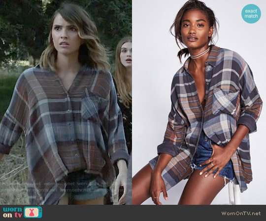 Free People 'Year Round' Plaid Shirt worn by Shelley Hennig on Teen Wolf