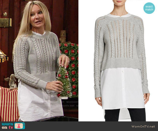 French Connection Crochet Cable Knits Layered-Look Sweater worn by Sharon Case on The Young & the Restless
