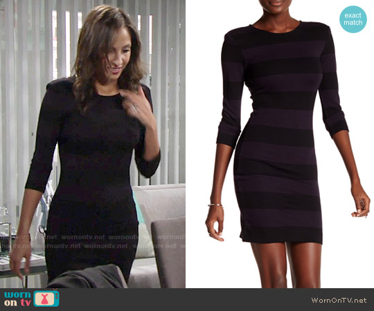 French Connection Manhattan Winter Stripe Dress worn by Christel Khalil on The Young & the Restless