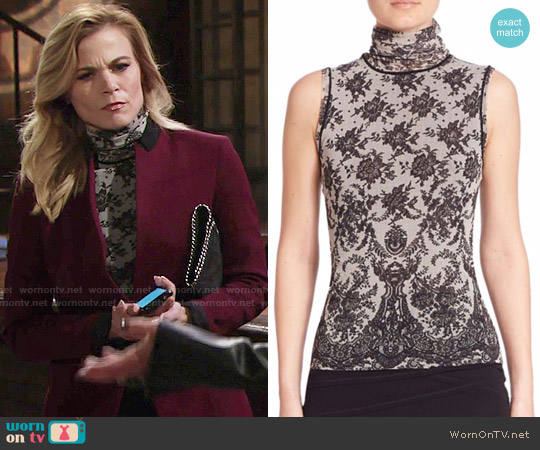 Fuzzi Chantilly Lace-Print Turtleneck Top worn by Phyllis Newman (Gina Tognoni) on The Young & the Restless