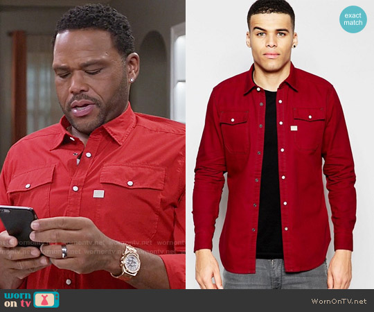 G Star Raw Landoh Shirt in Flame worn by Andre Johnson (Anthony Anderson) on Blackish