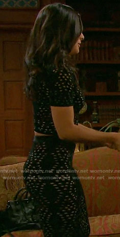 Gabi's black eyelet crop to and skirt on Days of our Lives