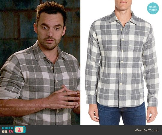 Grayers Devon Trim Fit Plaid Herringbone Sport Shirt worn by Jake Johnson on New Girl