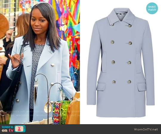 Gucci  Blue Double Breasted Coat with Silver Buttons worn by Aja Naomi King on HTGAWM