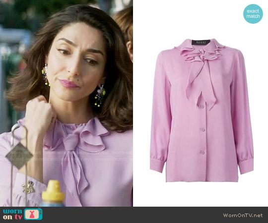Gucci Ruffled Collar Blouse worn by Delia (Necar Zadegan) on GG2D