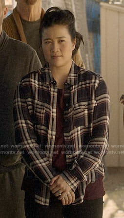 Happy's navy plaid shirt on Scorpion