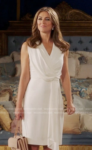 Queen Helena's white draped dress on The Royals