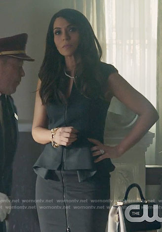 Hermione's black zip-front peplum dress on Riverdale