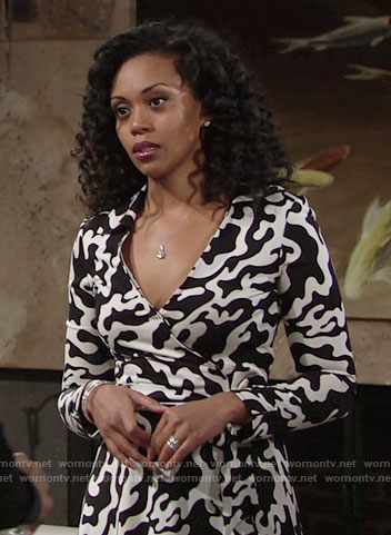 Hilary's black and white printed wrap dress on The Young and the Restless
