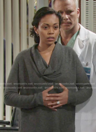 Hilary's grey cowl neck sweater on The Young and the Restless