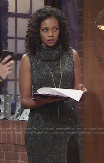 Hilary's metallic sleeveless cowl neck dress on The Young and the Restless