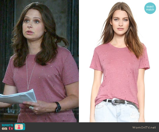 IRO Clay Tee worn by Katie Lowes on Scandal