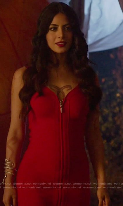 Isabelle's red zip-front bodycon dress on shadowhunters
