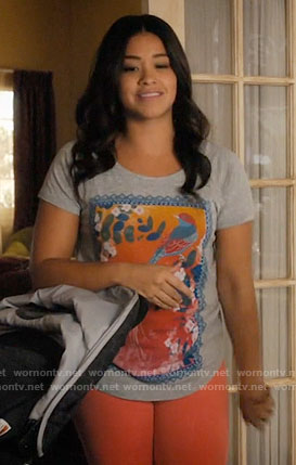 Jane's bird graphic tee on Jane the Virgin