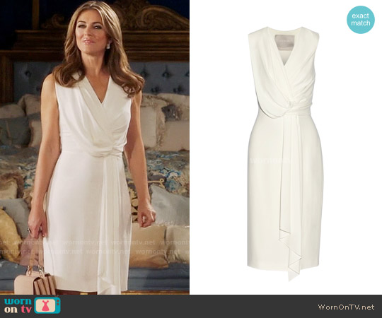 Jason Wu Draped Crepe Midi Dress worn by Elizabeth Hurley on The Royals