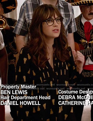 Jess's black leopard print blouse on New Girl