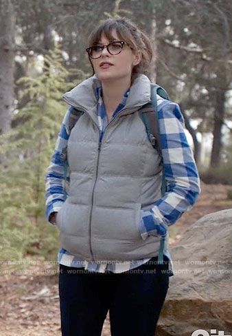 Jess's blue gingham checked shirt and puffer vest on New Girl