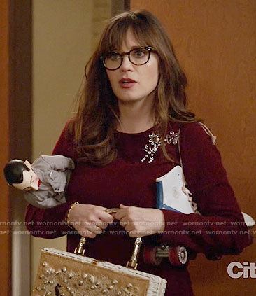 Jess's burgundy embellished sweater on New Girl