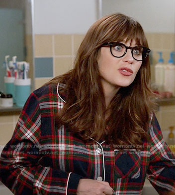 Jess's plaid pajamas on New Girl