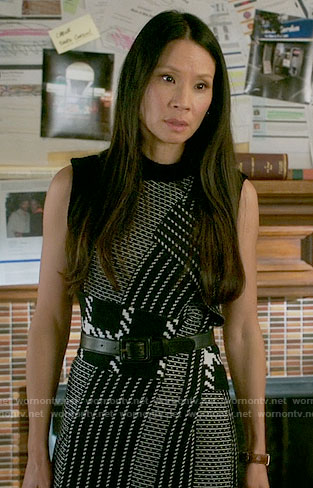 Joan's patchwork patterned dress on Elementary