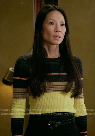 Joan's yellow striped sweater on Elementary