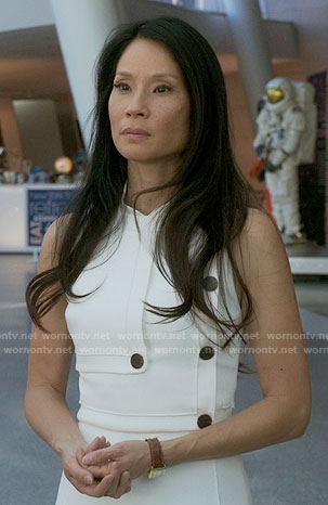 Joan's white buttoned dress on Elementary