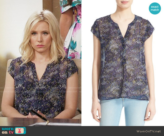 Joie 'Farhana' Floral Print Silk Top worn by Eleanor Shellstrop (Kristen Bell) on The Good Place