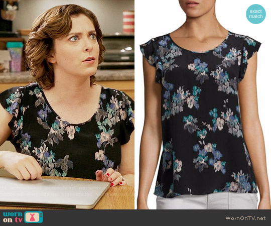 Joie Kerr Brushstroke Floral Print Silk Blouse worn by Rebecca Bunch (Rachel Bloom) on Crazy Ex-Girlfriend