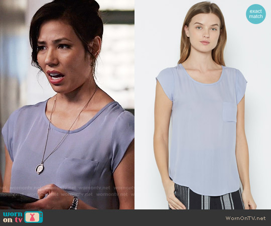 Joie Rancher Top in Lilac worn by Angela Montenegro (Michaela Conlin) on Bones