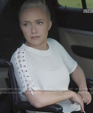 Juliette's white tee with lace-up sleeves on Nashville