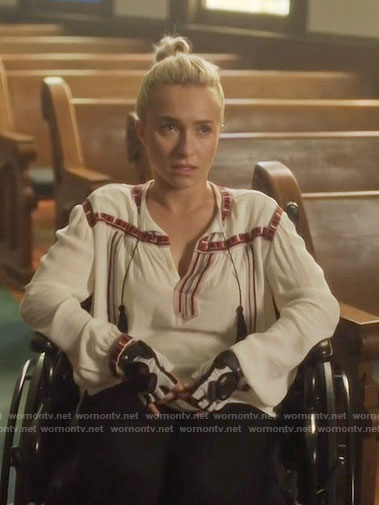 Juliette's white peasant blouse on Nashville