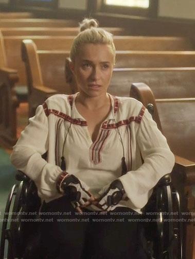 Juliette's white peasant blouse on Nashville