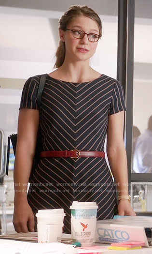 Kara's chevron striped dress on Supergirl
