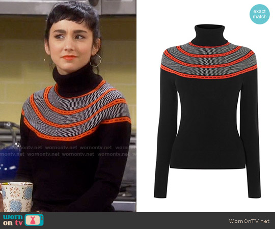 Karen Millen Circle Yoke Sweater worn by Mandy Baxter ( Molly Ephraim) on Last Man Standing