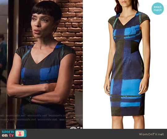 Karen Millen Watercolor Check Dress worn by Tamara Taylor on Bones