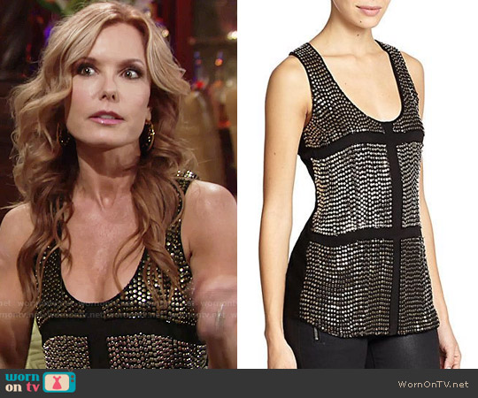 Karina Grimaldi Lugo Beaded Silk Tank Top worn by Tracey Bregman on The Young & the Restless