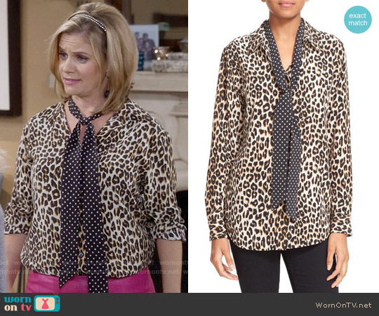 Kate Moss for Equipment Leopard Print Shirt with Tie worn by Andrea Barber on Fuller House