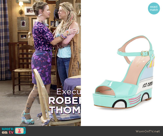 Kate Spade Dotty Ice Cream Wedge Sandal worn by Andrea Barber on Fuller House