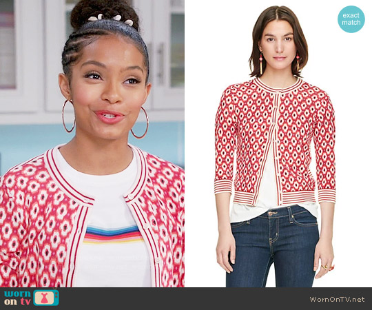 Kate Spade Posy Ikat Cardigan worn by Zoey Johnson on Blackish