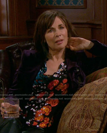 Kate's black floral blouse on Days of our Lives