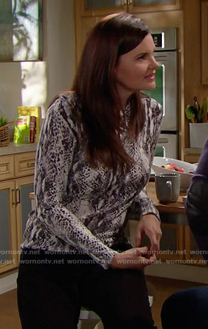 Katie's snake print sweater on The Bold and the Beautiful