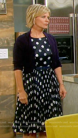 Kayla's navy polka dot dress on Days of our Lives