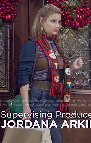 Kimmy's patchwork sweater, Christmas scarf and embroidered denim skirt on Fuller House